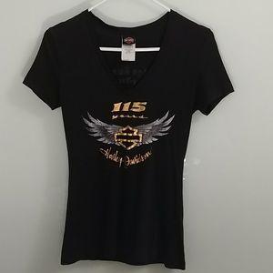 Harley Davison 115th Anniversary V neck Tshirt